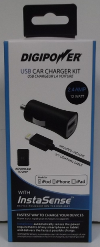 Image of: Digipower 5' Lightning Car Charger Kit